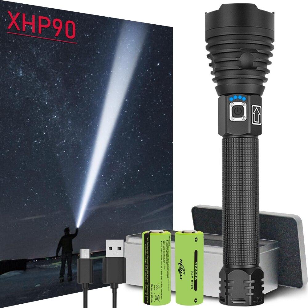 החזק ביותר led פנס חדש CREE xhp90 usb נטענת לפיד xhp50 xhp70 זום יד מנורת 26650 18650 סוללה פלאש אור