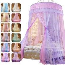 Cama dossel pendurado mosquito-prova net redonda topo princesa cama tenda cortina dobrável dossel na cama elegante rendas fadas dossel