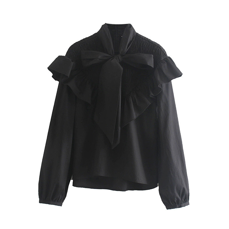 Women High Street Bow Collar Cascading Ruffles Casual Smock Blouse Shirts Women Lantern Sleeve Elastic Black Blusas Tops LS4148