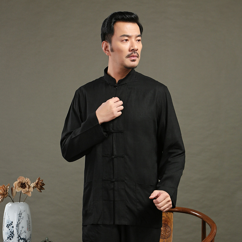 Flax Long-sleeved Upper Garment Spring And Summer Cotton Linen Chinese Clothing Chinese Costume MEN'S Short-sleeved Shirt Middle