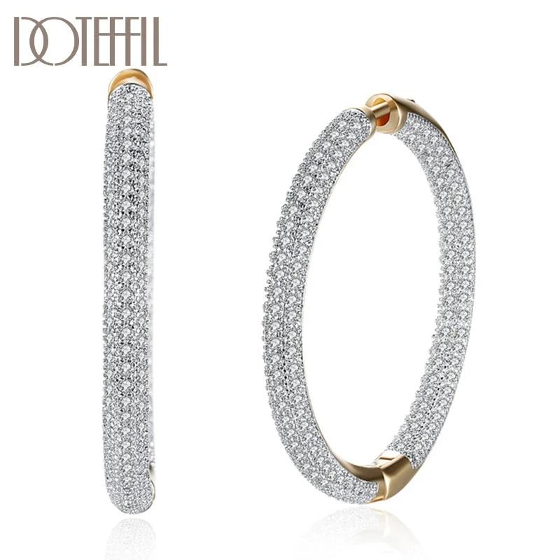 Circle Zircon Silver Hoop Bracelet
