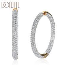 DOTEFFIL 925 srebro Big Circle Hoop 18K złota/różowe złoto AAA cyrkonią kolczyki dla kobiet prezent moda urok biżuteria ślubna
