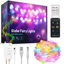 Guirnalda de luces LED con WiFi para exteriores, tira de luces RGB con Bluetooth, Alexa, resistente al agua para decoración de jardín
