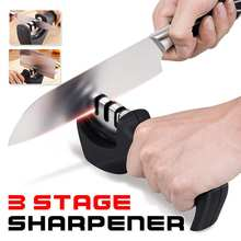 Professional Knife Sharpener 3 Stages Tungsten Diamond Ceramic Steel Kitchen Whetstone Knives Grindstone Sharpening Stone Tool(China)