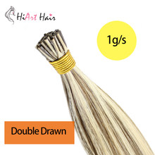 "HiArt 0.8g/s Flat Tip Hair Extension Real Human Hair Extensions Salon Double Drawn Remy Fusion Hair Straight Extension 18""20""22""(China)"