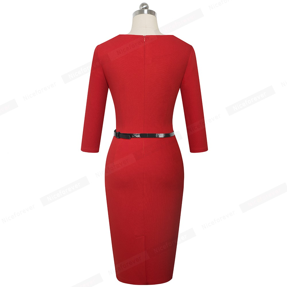 Image 2 - Nice forever Elegant Brief Solid Color Office vestidos Business Work Party Women Bodycon Autumn Dress B552Dresses   -