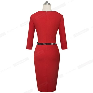 Image 2 - Nice forever Elegant Brief Solid Color Office vestidos Business Work Party Women Bodycon Autumn Dress B552