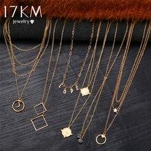 17 км золотые ожерелья с буквой для женщин Новое богемское короткое ожерелье с подвеской этнический многослойный женский модный ювелирный