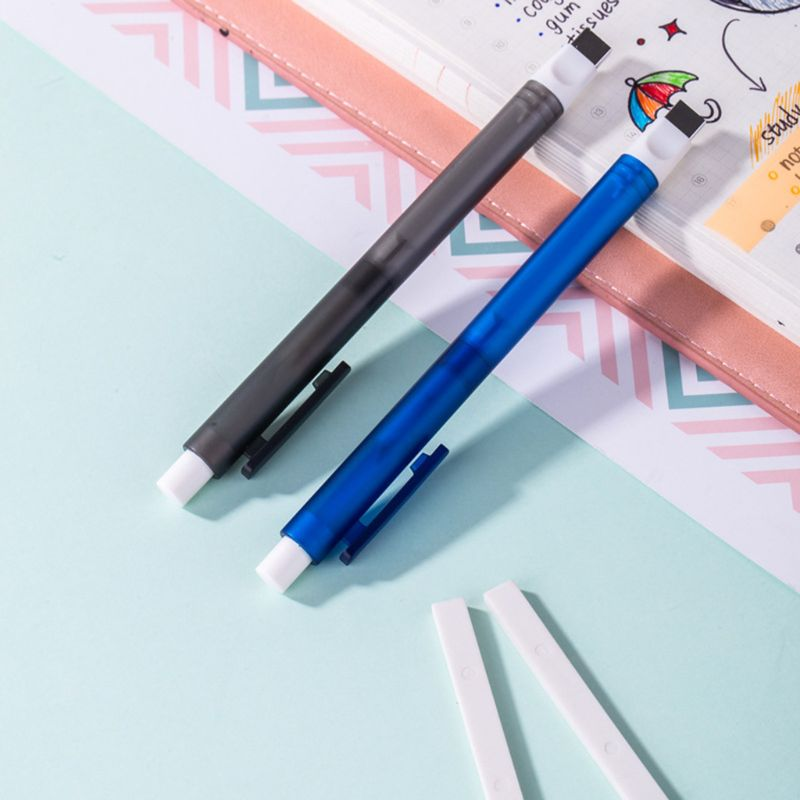 Mechanical Eraser Meticulous Highlighting Refillable Pen Shape Rubber Press Type