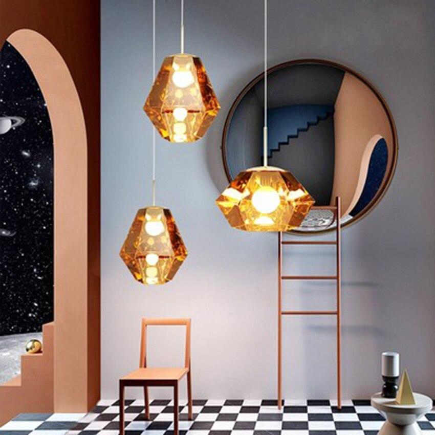 Modern LED Diamond Pendant Lights Lighting Art Light Living Room Restaurant Bedroom Indoor Decor LED Hanging Lamp Light Fixtures