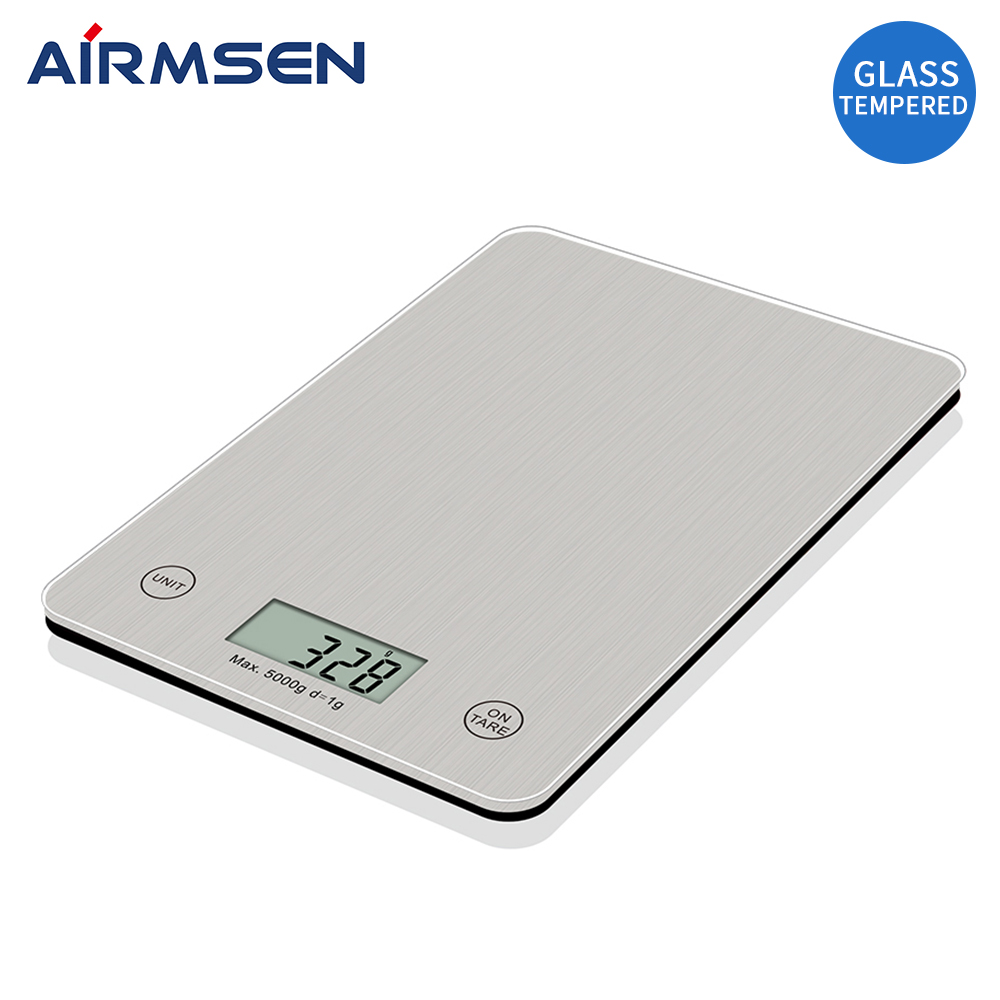AIRMSEN 11LB/5KG Household Kitchen Scale Electronic Food Scale Baking Scale Measuring Tool Tempered Glass Wire Drawing Process