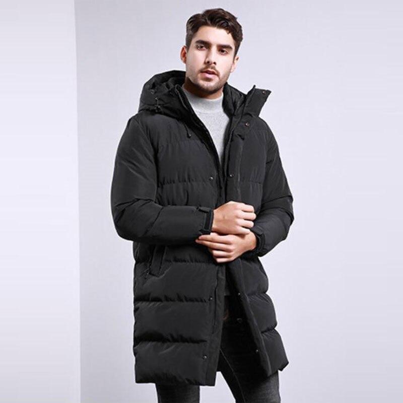 Новинка 2019, мужское хлопковое пальто, Мужская зимняя длинная куртка с капюшоном, свободная повседневная Толстая черная куртка, больше разме... - 3