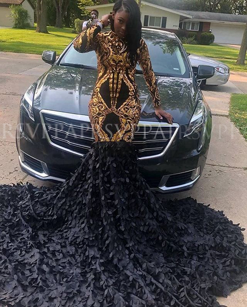 Long Sparkly Prom Dresses 2020 Sexy Mermaid High Neck Long Sleeve Gold Sequin Black Lace African Women Gala Prom Dress