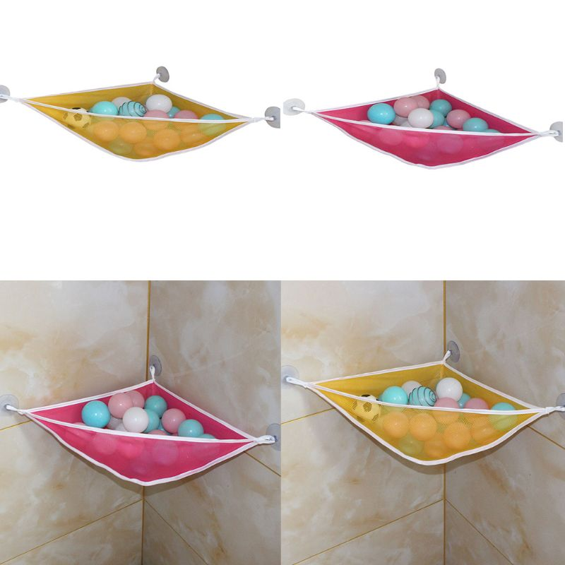 Home Bathroom Triangle Support Holder Mesh Cloth Drain Bag Multi-function Children Toy Storage Bags 19QF