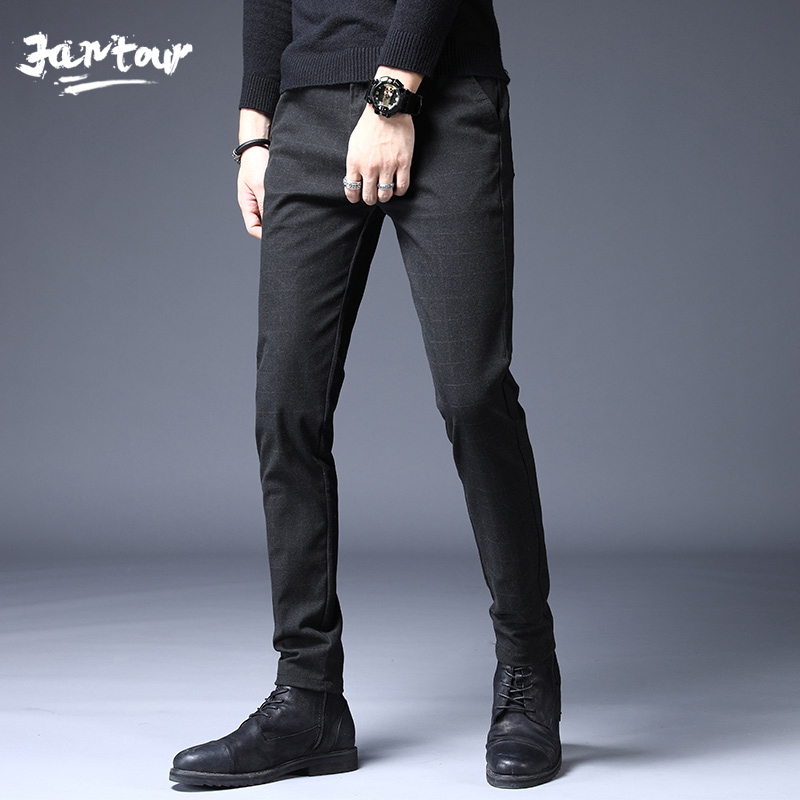 2020 New Stretch Plaid Casual Pants Men's High Quality Brand Business Thin Trousers Men's Straight Black Gray Trousers Pant Male