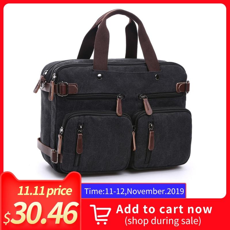 Men's Canvas Vintage Casual Briefcase Man Business Shoulder Messenger Bag Men Laptop Handbag Male Messenger Crossbody Travel Bag