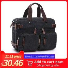 Купить с кэшбэком Men's Canvas vintage Casual Briefcase man Business Shoulder Messenger Bag men Laptop Handbag male Messenger Crossbody Travel Bag