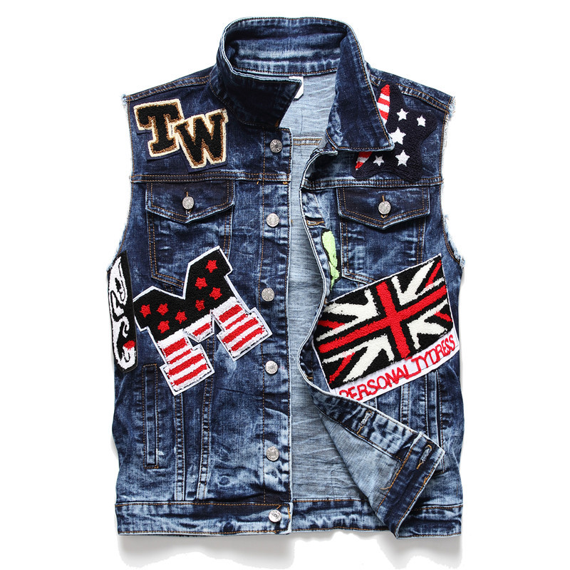 Punk Style Mens Beading Patchwork Slim Fit Sleeveless Jackets Casual Skull Embroidery Jeans Waistcoats Casual Print Vest J3010