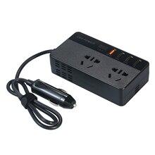 QC3.0 150W taşınabilir güç inverteri DC 12V AC 220V araç invertörü dönüştürücü USB portu ile akım ve gerilim ekran USB portu
