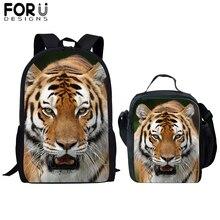 FORUDESIGNS 2Pcs Cute Animal 3D School Bag Set for Kids Boys Tiger Wolf Rabbit Backpacks Children Bookbag Satchel Daypack