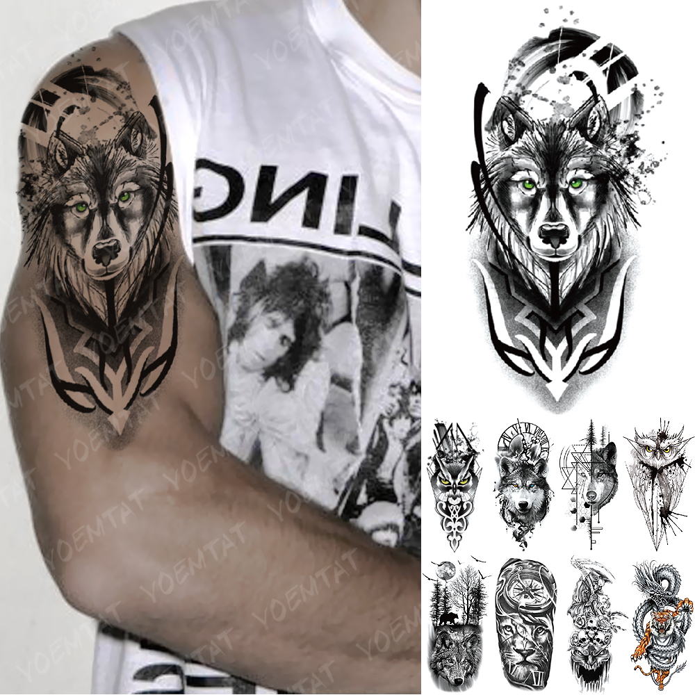 Waterproof Temporary Tattoo Sticker Green Eye Totem Wolf Flash Tattoos Death Lion Crown Body Art Arm Fake Tatoo Women Men