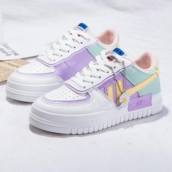 2020 letnie damskie trampki białe tenisowe damskie buty płócienne wsuwane na kobiece rzędy buty platformowe mieszkania Casual Ladies Vulcanize Shoes tanie i dobre opinie Zohreh CN (pochodzenie) Aplikacje Mieszane kolory Dla dorosłych Syntetyczny Wiosna jesień Niska (1 cm-3 cm) Lace-up Pasuje prawda na wymiar weź swój normalny rozmiar
