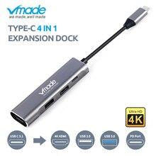 뜨거운 판매 Vmade 4 1 USB 허브에 대 한 삼성 S8 S9 플러스 USB C 허브에 대 한 HDMI C 어댑터 모드에 대 한 PC Huawei 동반자 20 P20 프로 Type c