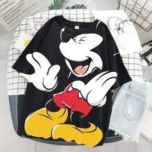 Disney cartoon mickey tshirt topos verão casual de grandes dimensões camisetas femininas ulzzang hip hop streetwear harajuku manga curta tshirt