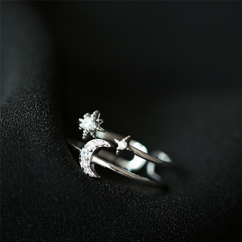 Sole Memory Double Layer Stars Moon Zircon Shiny Cool 925 Sterling Silver Female Resizable Opening Rings SRI560
