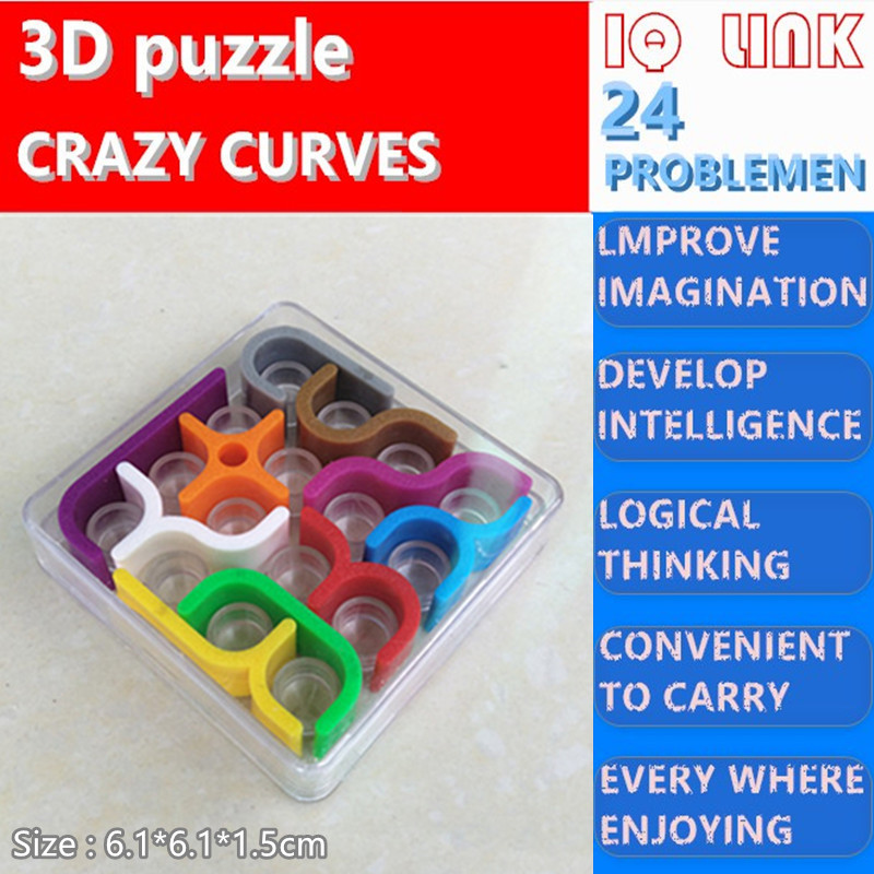 3d CRAZY CURVES Puzzles For Kids Adults Education Learning Montessori Jigsaw Puzzle Cube Box Brain Teasers Intellectual IQ Toy