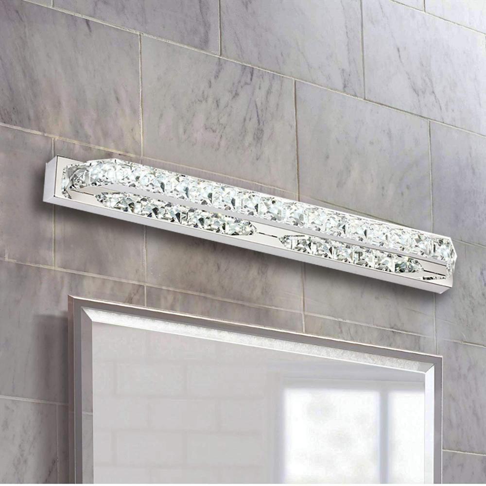 Işıklar ve Aydınlatma'ten LED İç Mekan Duvar Lambaları'de Ganeed LED Vanity işık ayna  22 inç 14 W  kristal duvar ışıkları banyo aydınlatma armatürleri için  soğuk beyaz title=