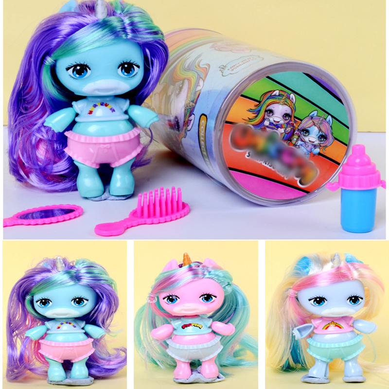 Original Baby Reborn Unicorn <font><b>Doll</b></font> Figure Toy Surprise Poopsies Silcone <font><b>Sex</b></font> BJD <font><b>Dolls</b></font> Colorful Hair Toy For Girl Children Gifts image
