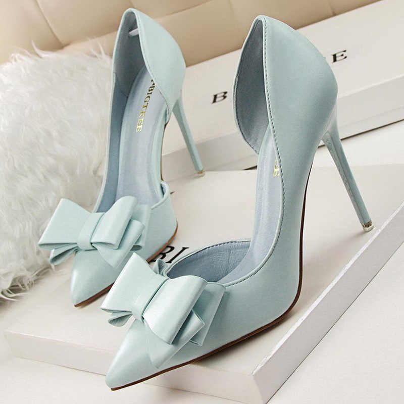 Bigtree sapatos femininos saltos femininos elegantes bombas arco-nó salto alto sapatos femininos apontou stiletto festa de casamento nupcial sapatos femininos
