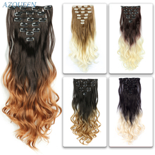 AZQUEEN 16 Clips Long Wavy Synthetic Hair Extensions Clip-On Hair Temperature Fiber Black Brown Hairpieces For Women