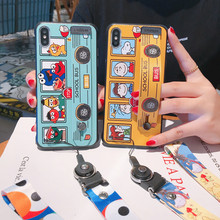 Wrist strap bracket Phone case For iphone 7 Popular Cartoon lanyard Hard Cover Case 6S 8 plus X XR XS MAX