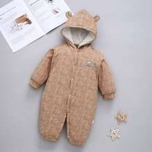 2019 Winter Baby Girls Boys Jumpsuit Long Sleeve Thicken Cotton Warm Hooded Rompers Outdoor Overalls Body Suits Newborn CL2105 стоимость