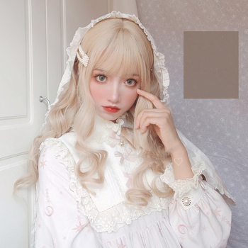 MANWEI Lolita Wigs With Bangs Maroon Blonde Long Wave Wigs For Women Noble Blonde Heat Resistant Synthetic Cosplay Wig elegant blonde side bang capless long big wave heat resistant synthetic wig for women