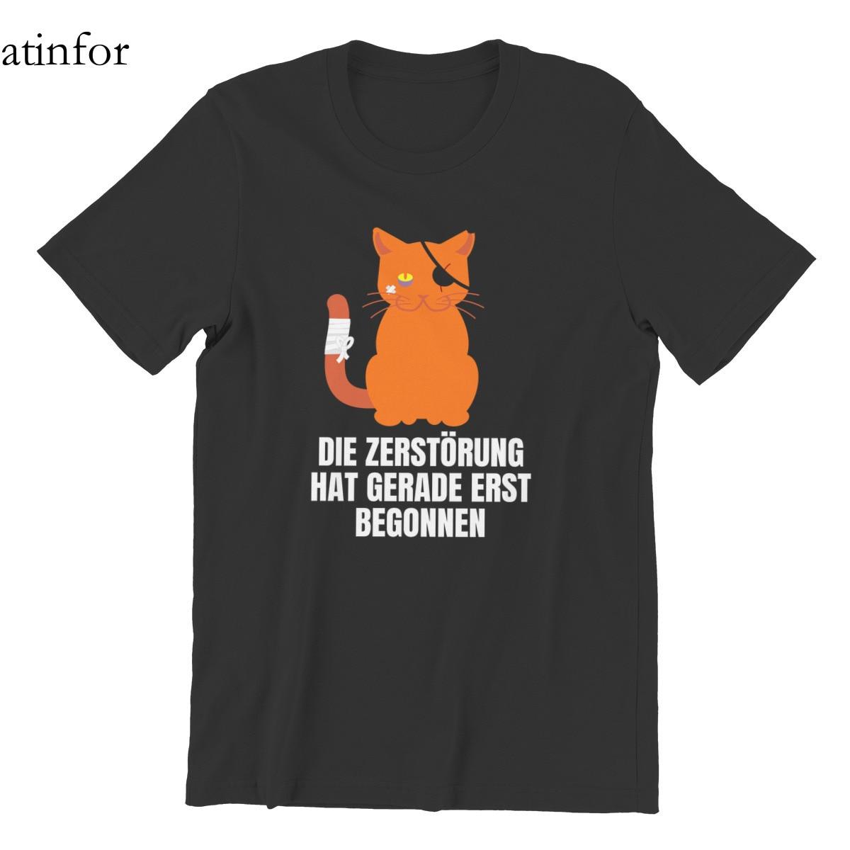 Antifor Katze mit Piratenlook und verletzung T-Shirt Printing Black HipHop Female 2021 Tees 62738