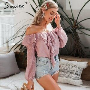 Image 2 - Simplee seksi kapalı omuz fırfır kadın bluz zarif pembe bayanlar chic bahar yaz tatil üstleri rahat uzun kollu dot bluzlar