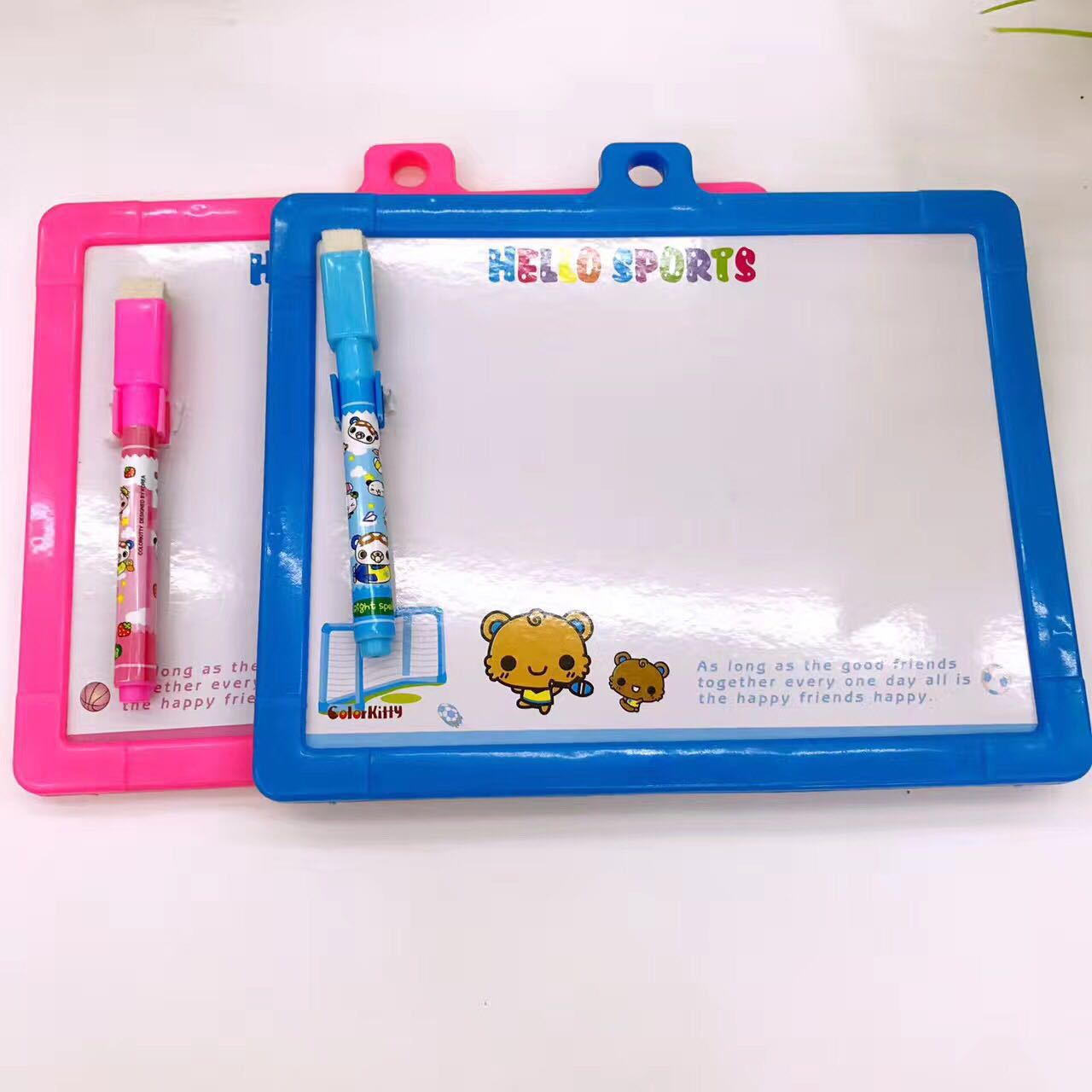 Children Double-Sided Tiny Whiteboard Cute Little Bear Whiteboard Wipable CHILDREN'S Doodle Board Mini Painted Children Small Dr