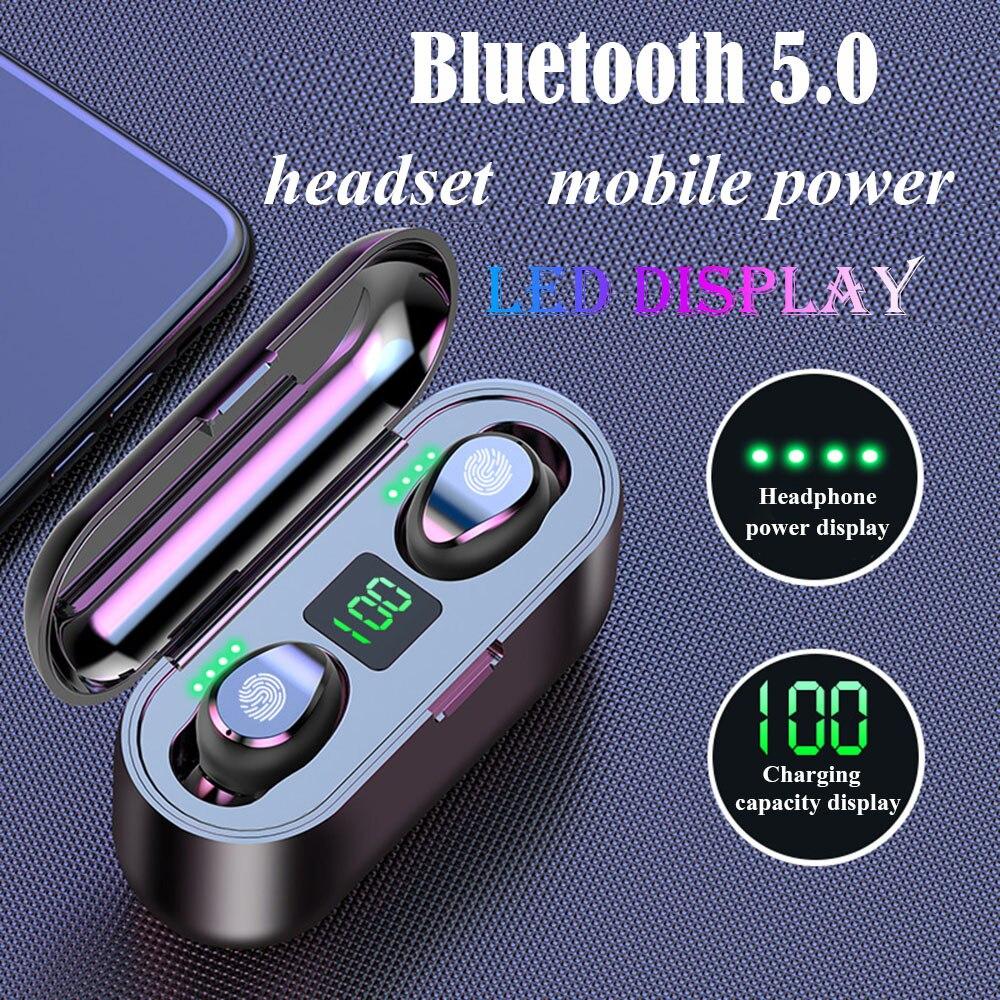 F9 TWS Bluetooth 5.0 Earphones Stereo Wireless Headphones HIFI Sound Sports Earphones Handsfree Gaming Headset For Xiaomi Phone