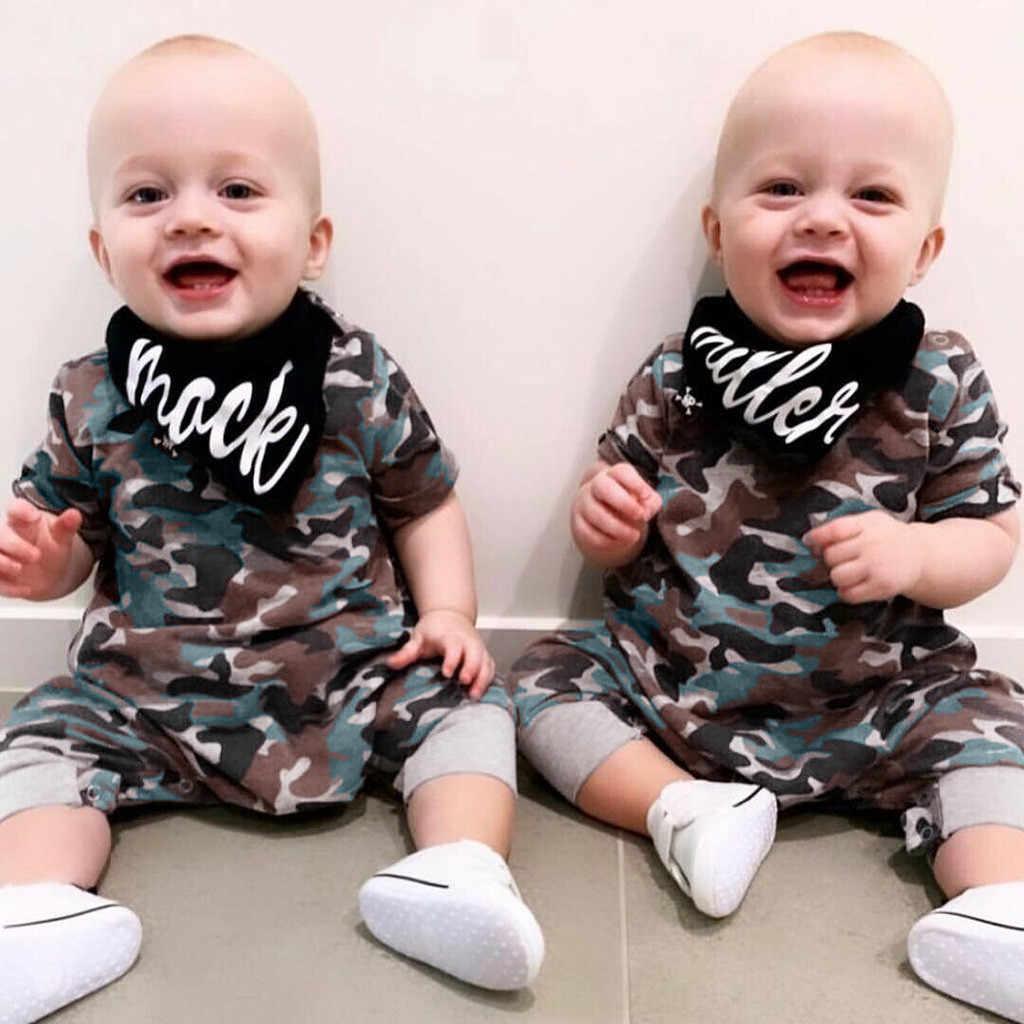 MUQGEW младенческой комбинезон для младенцев + письмо мальчиков и девочек с коротким рукавом камуфляж печати новорожденных одежда комбинезон для младенцев костюм