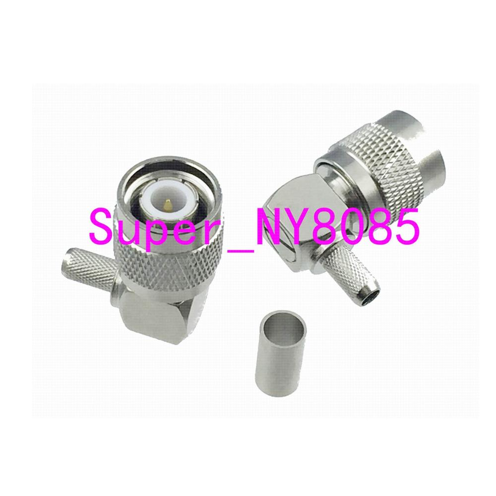 Connector TNC Male Plug Right Angle Crimp For RG58 RG142 LMR195 RG400 Cable COAXIAL
