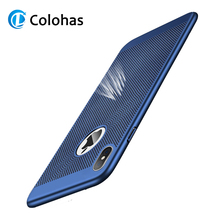Colohas Super Thin for iPhone XR X 7 Case Luxury Breathe Phone Xs Max 8 6 6s Plus 5s PC Back Cover Coque