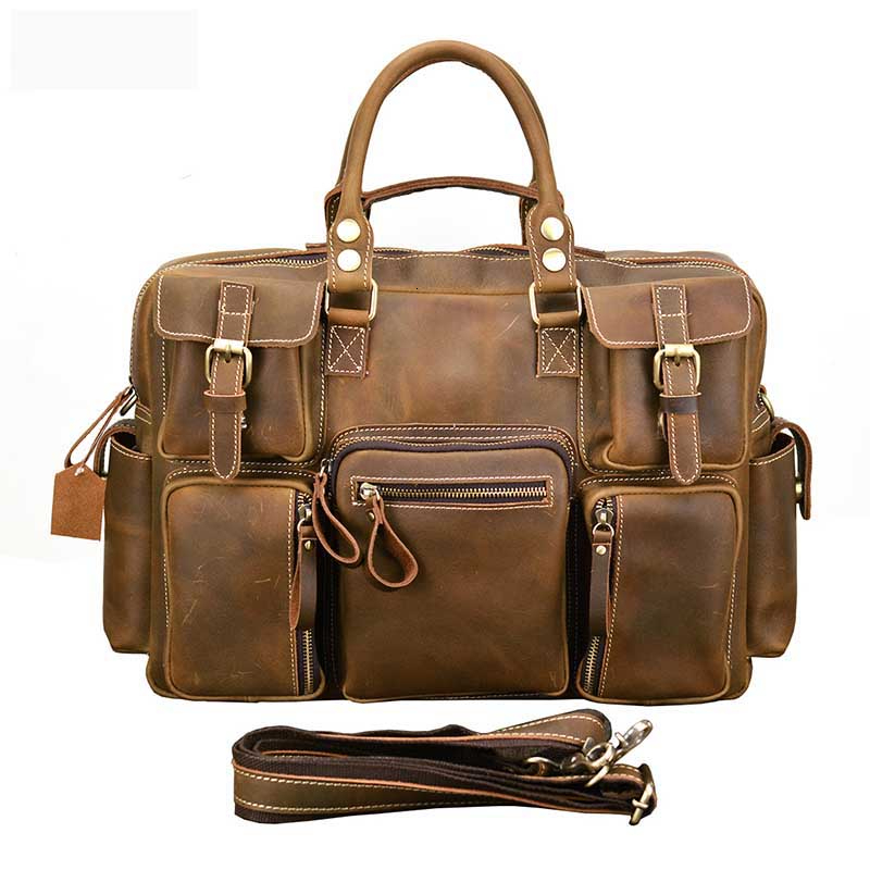 YICIYA Man Briefcase Genuine Vintage Crazy Horse Leather Laptop Briefcase Bag Hand Bags High Quality 7106