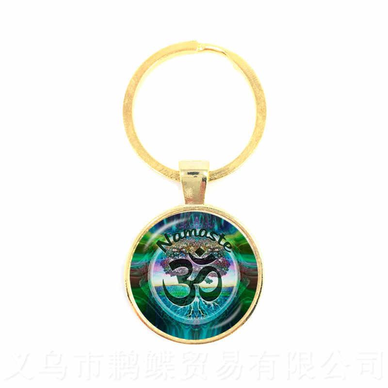 2018 Nova Moda Padrão Mandala Zen Budismo Yoga Cúpula De Vidro do Anel Chave Da Corrente Chave Keychain Saco Acessórios de Presente Da Jóia