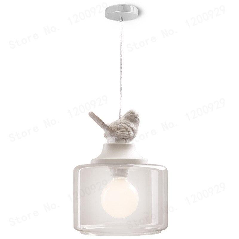 Nordique 1 tête oiseau pendentif lumières lampe verre Simple créatif Transparent Europe du nord enfants lampes lanternes lampe de salon