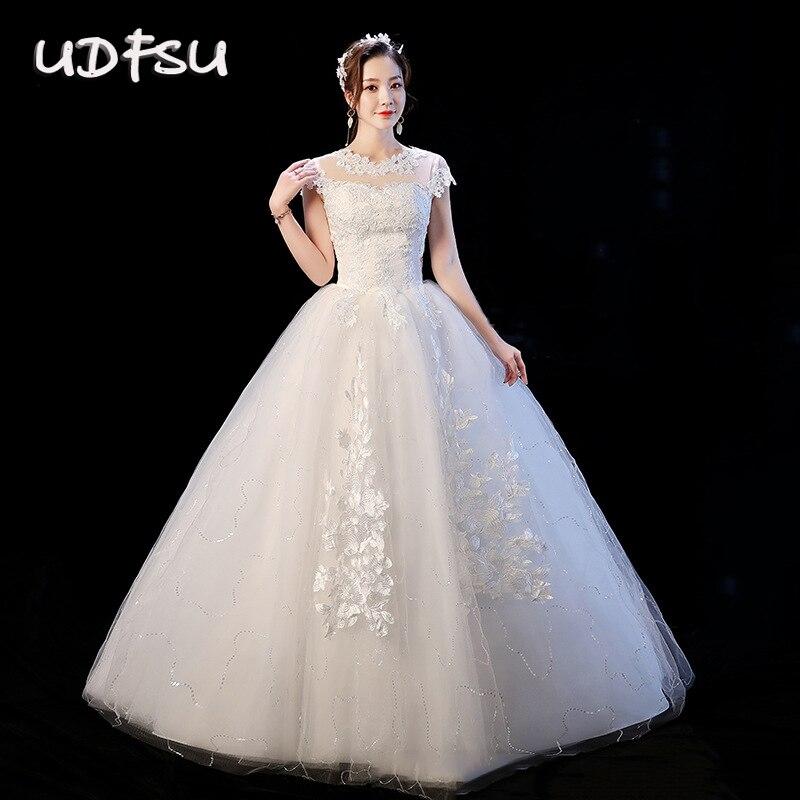 UDFSU Women Boat Neck Lace Wedding Dresses Off Shoulder Backless Ball Gowns Slim Fit Floor Length Vintage Tulle Wedding Gown