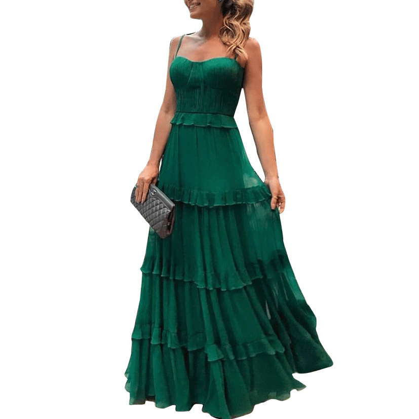 Green Banquet Dress Woman Spaghetti Strap Vestido Sweet Party Dress Woman