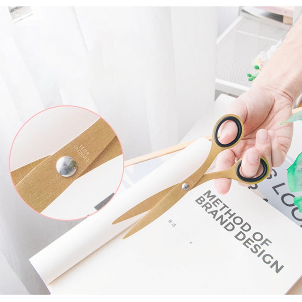 Golden Brass School Scissors Minimalist Design Office Household Scissors Kawaii Korean Stationery